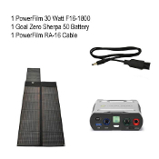 PowerFilm 30 Watt Goal Zero Sherpa 50 Bundle with adapter cable