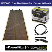 PowerFilm 60 Watt Rollable Solar Goal Zero Yeti 400 Power Pack